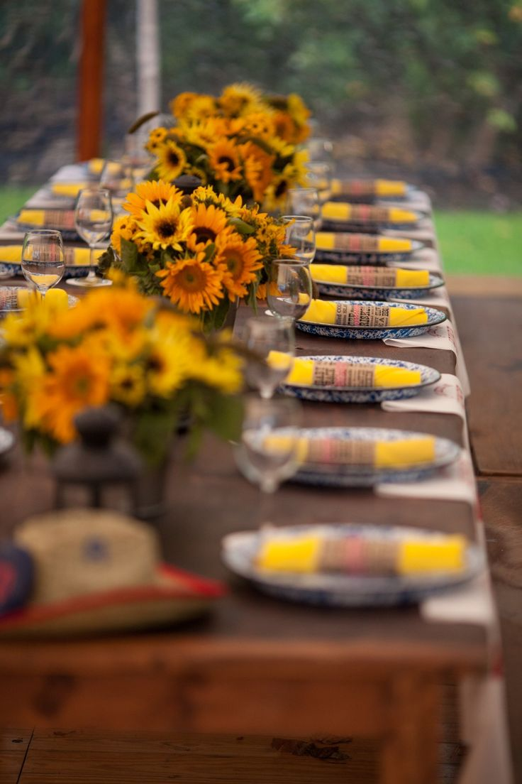 sunflower tablescape for a tennesse style welcome BBQ by