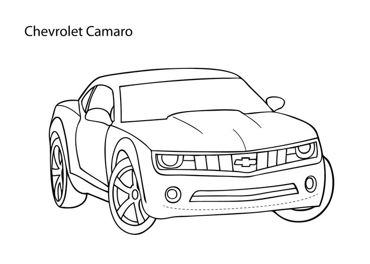 Super car Chevrolet Camaro coloring page, cool car