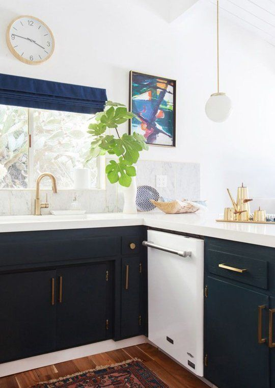 Trend Alert Navy Marble  Brass in the Kitchen  Bath