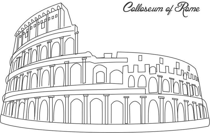 Colloseum of Rome coloring printable page for kids