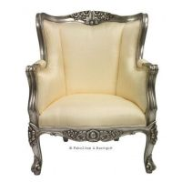 Aveline French Wing Back Chair - Silver and Ivory