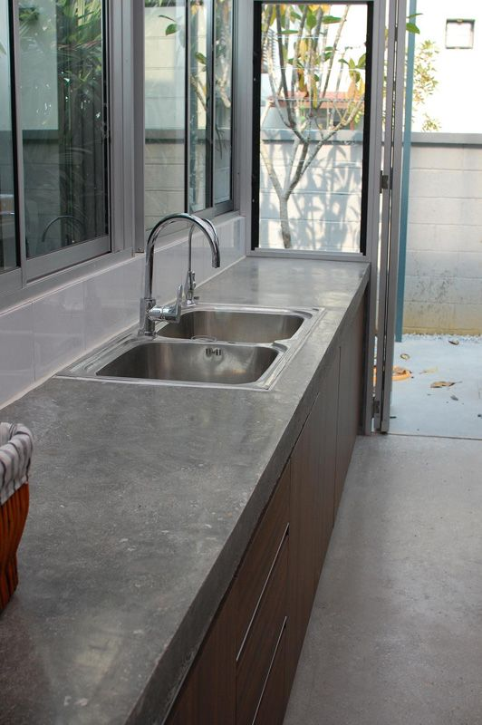 staining kitchen cabinets darker barstools polished concrete counter tops innofloor.com.my #concrete ...