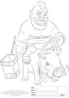 Free Printable Clash of Clans Hog Rider Coloring Pages   1 ...