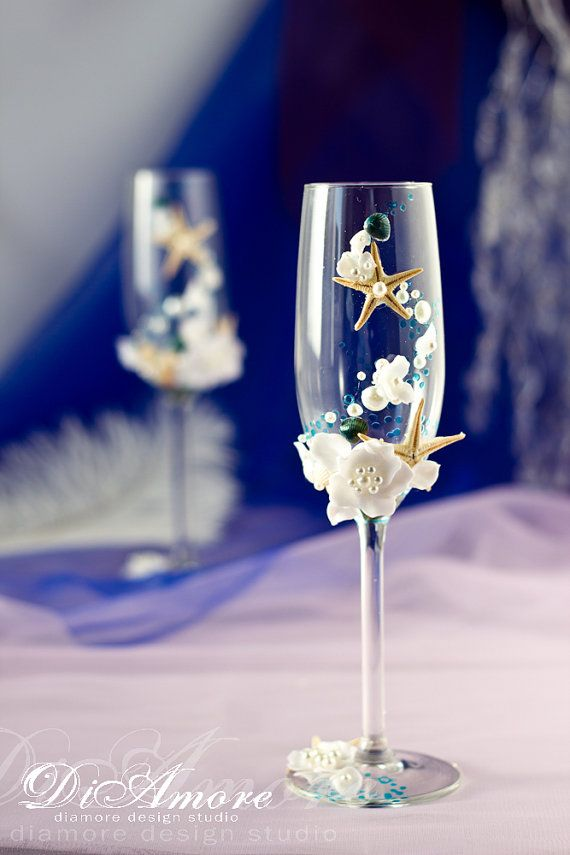 Nautical Wedding champagne glasses with pearls and starfish Beach Style wedding Champagne