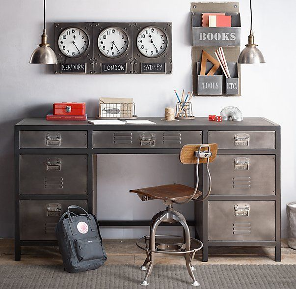 Vintage Locker Large Storage Desk  960P Boys  Pinterest