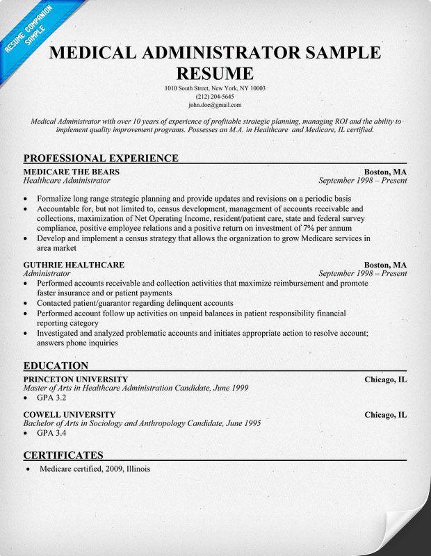 Medical Administrator Resume resumecompanioncom