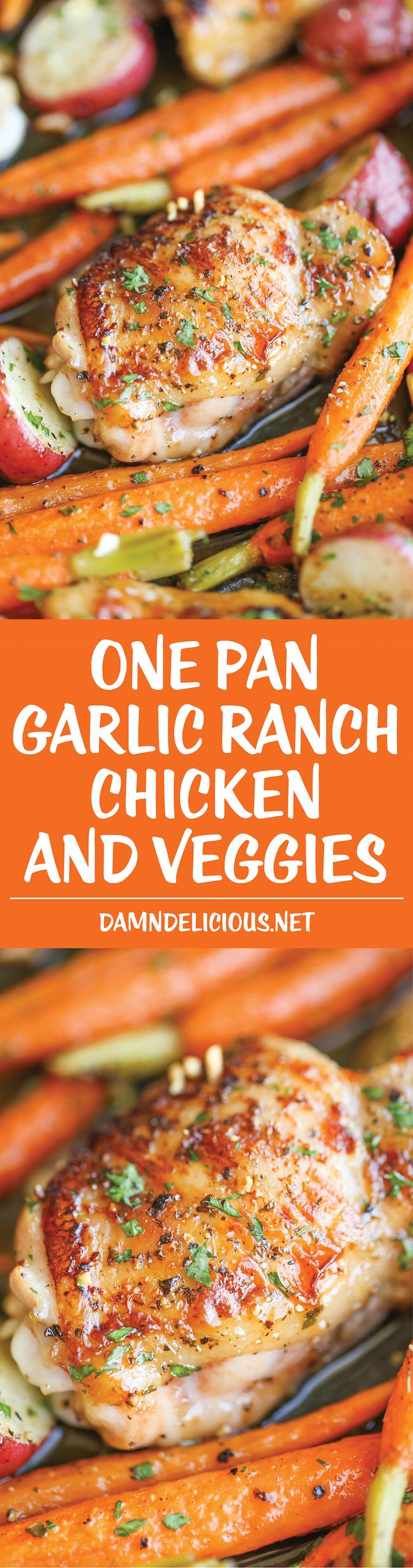 One Pan Garlic Ranch Chicken and Veggies – Crisp-tender chicken baked to absolute perfection with roasted carrots and potatoes –