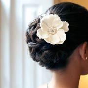 wedding updo with flower.love