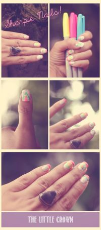 Easy Nail Designs - Summer Nails with Sharpies! Drawn ...