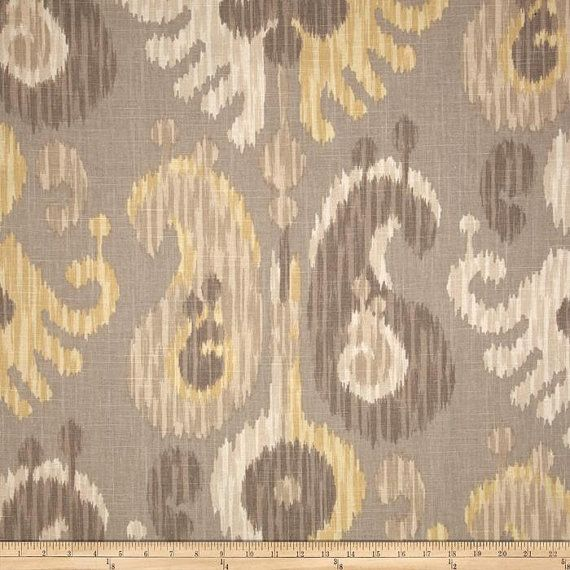 Grey Beige Putty and Yellow Ikat Curtain Panel  Custom