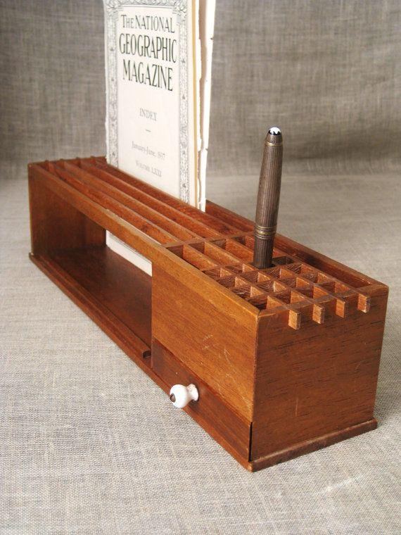 Vintage MidCentury Wooden Desk Organizer  Desk Caddy