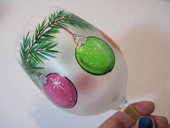 Christmas Ornaments Painted Wine Glass by KudosKitchenByRenee, $33.00