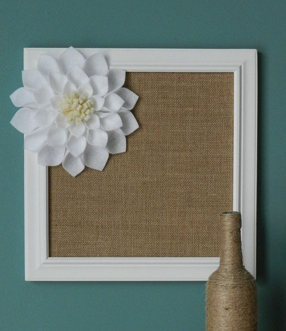 Burlap Covered Framed Cork Board with Large White Felt