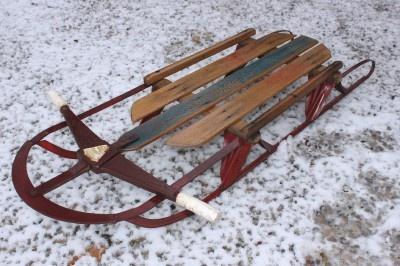 Vintage Wards Hawthorne Sled Old Retro Wood  Metal
