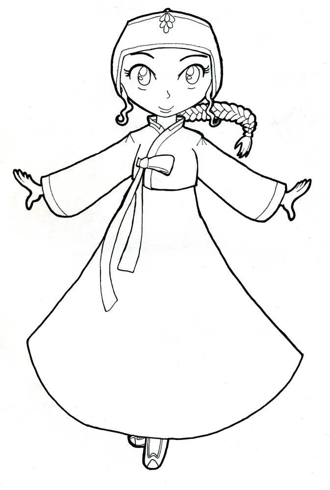 Korean Hanbok: Coloring Page by AkaiTennyo.deviantart.com