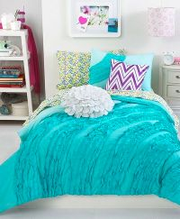 turquoise bedding for girls   ... ruffle comforter sets ...