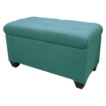 Melbourne Linen Double Storage Ottoman Teal Furniture