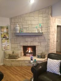 Austin stone fireplace! Creates a warm home with off white ...