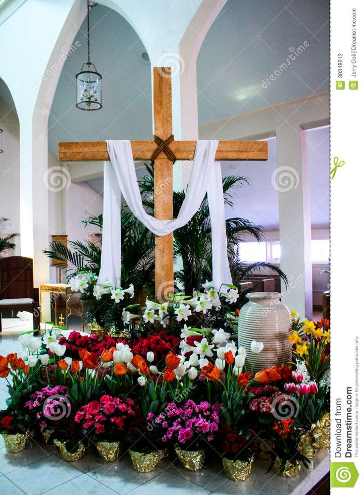 decorating church with potted easter plants  Catholic