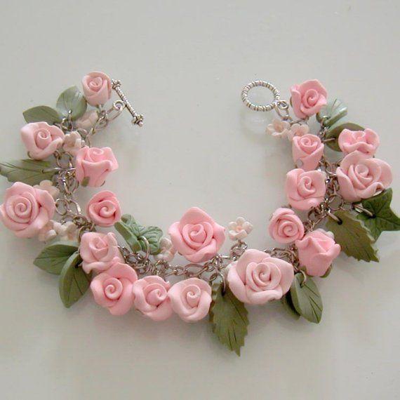 Pink Rose Bridal Charm Bracelet Hand Sculpture Polymer