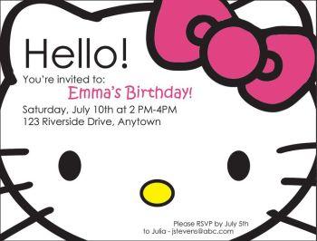 Hello Kitty Birthday Invites @Jenn L Minder For Cami's birthday