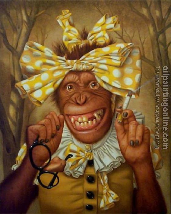 Oil Painting Reproduction Dressing monkey Monkey Art
