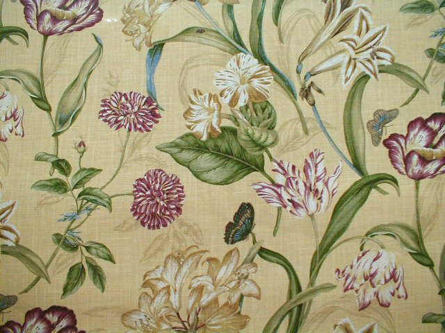 botanical print upholstery fabric  Waverly Somerset