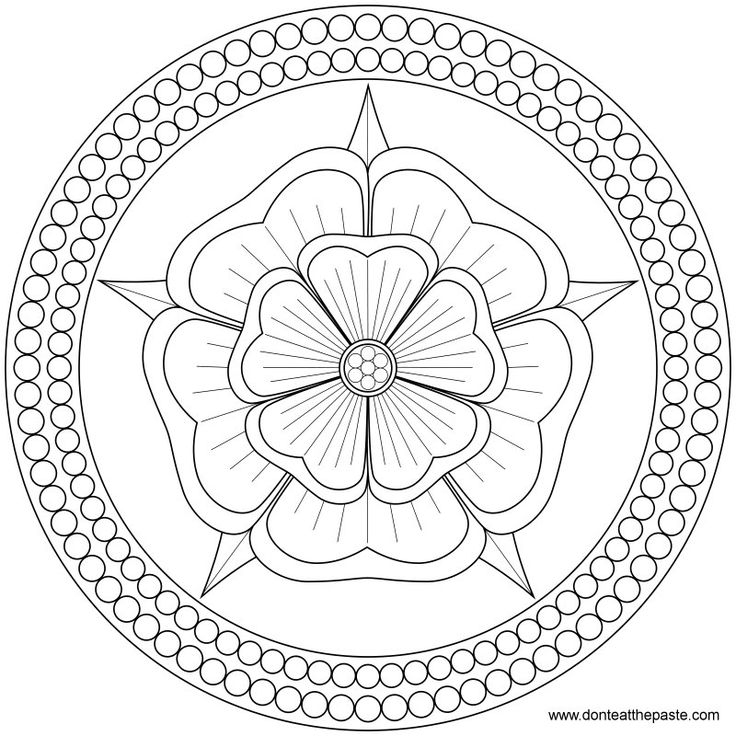 Rose and Pearls Mandala to color or embroider- JPG or
