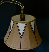 Linen and silk lampshade with bridge/uno fitter by ...