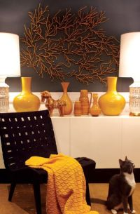 black & mustard yellow foyer design with black walls paint ...