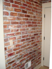 Painted faux brick wall to give my mud room a little ...
