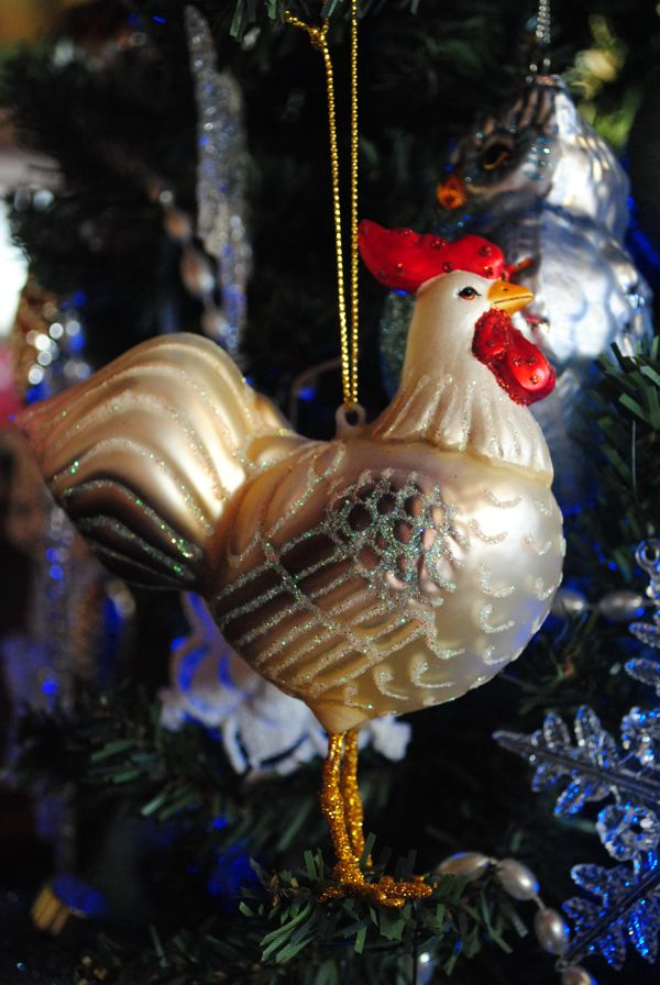 Chicken ornaments decorating for the holidays  Trees