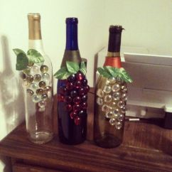 Grapes And Wine Kitchen Decor Zephyr Hood Decorated Bottles. | Crafts Pinterest Decorate ...