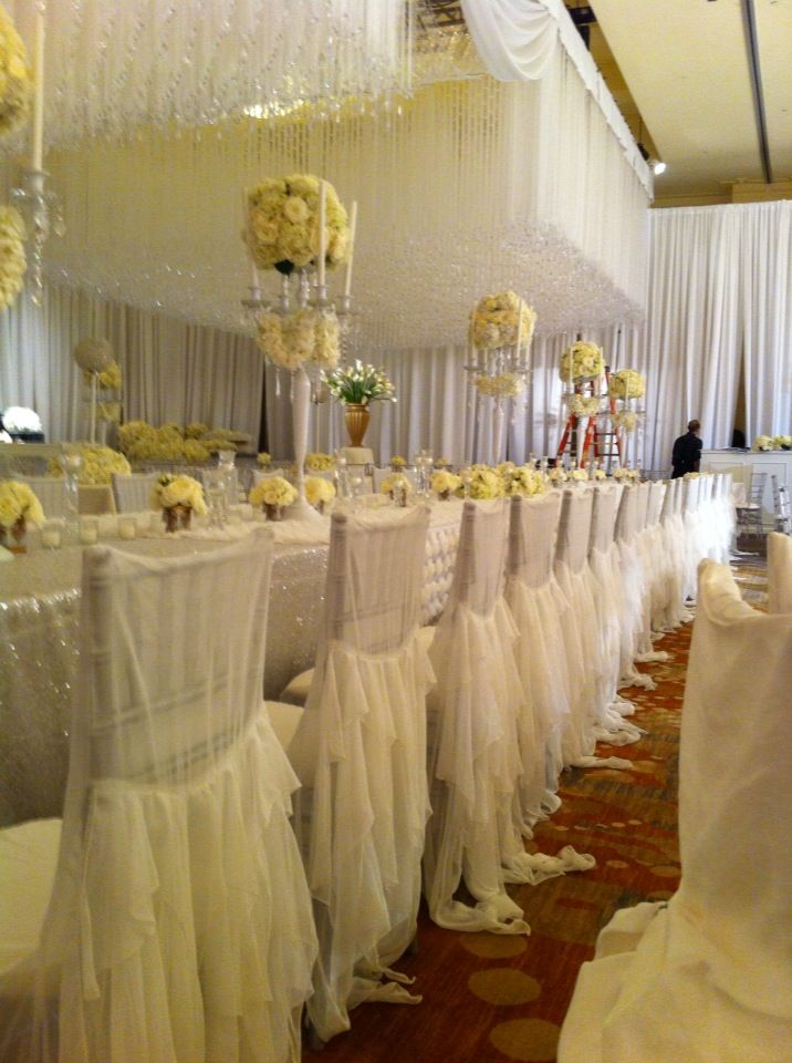 chair covers ideas baby bath with suction cups nene leakes' wedding reception over 400 white chiffon and rhinestone ...