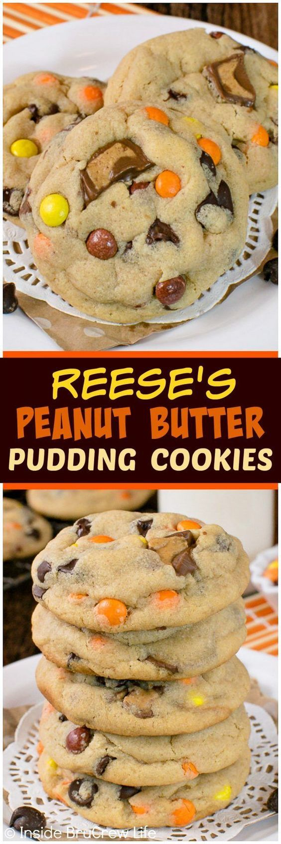Reeses Peanut Butter Pudding Cookies – this soft and chewy cookie recipe is loaded with chocolate and candy! Great dessert to fill