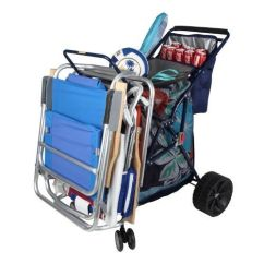 Beach Chairs Sam S Club White Plastic Rocking Chair Folding Cart With Cooler Color: Blue Large Wheels Wheeler Wide Portable Foldable Rolling ...