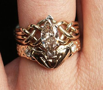 093CT marquisediamond puzzle ring with diamond claddagh