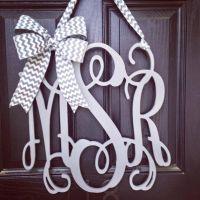 20 inch 3 letter wooden front door monogram with bow