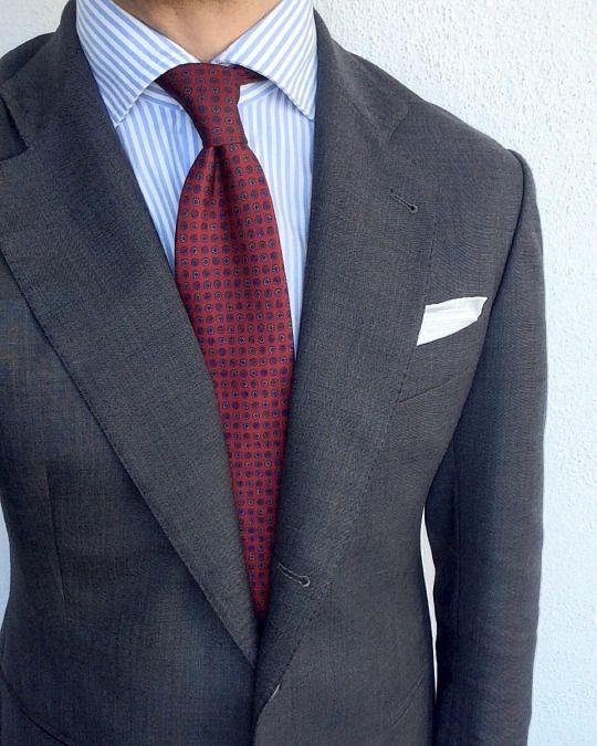 Grey Suit Blue Shirt Red Tie