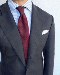 Grey Suit Blue Shirt Red Tie