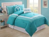 4 Pc Modern Teens Turquoise and White, Peace, Comforter ...