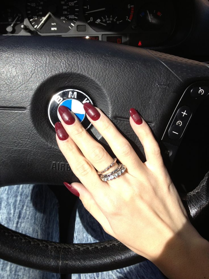 Burgundy And Matte Round Nails Nails Pinterest