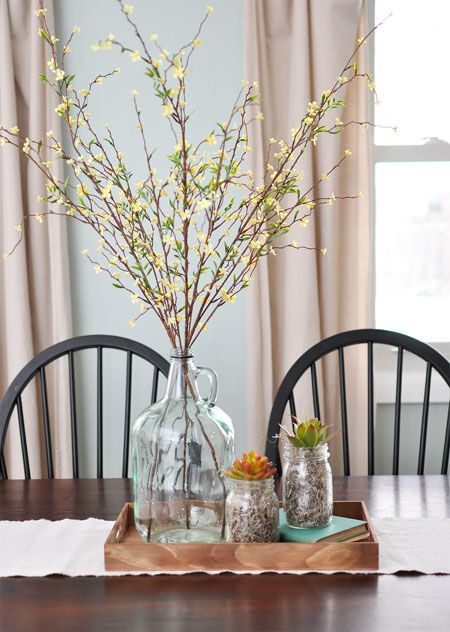 A Simple Neutral and Natural Centerpiece  Dinning table Centerpieces and Trays