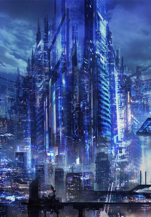 Anime futuristic city can