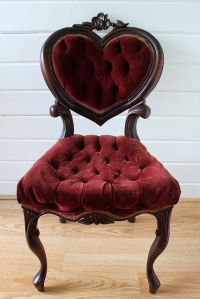 Heart Tufted Red Velvet Chair.   vintage style chairs ...