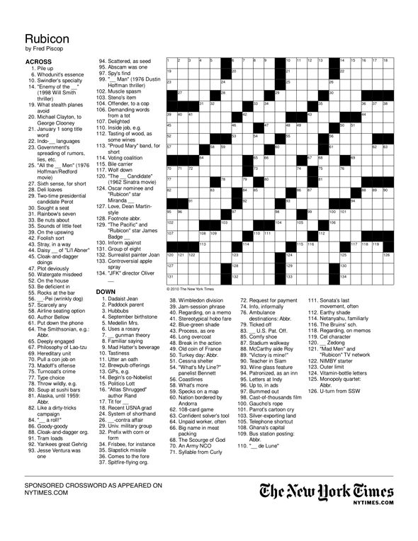 Create a crossword puzzle for either the top 3 contestants