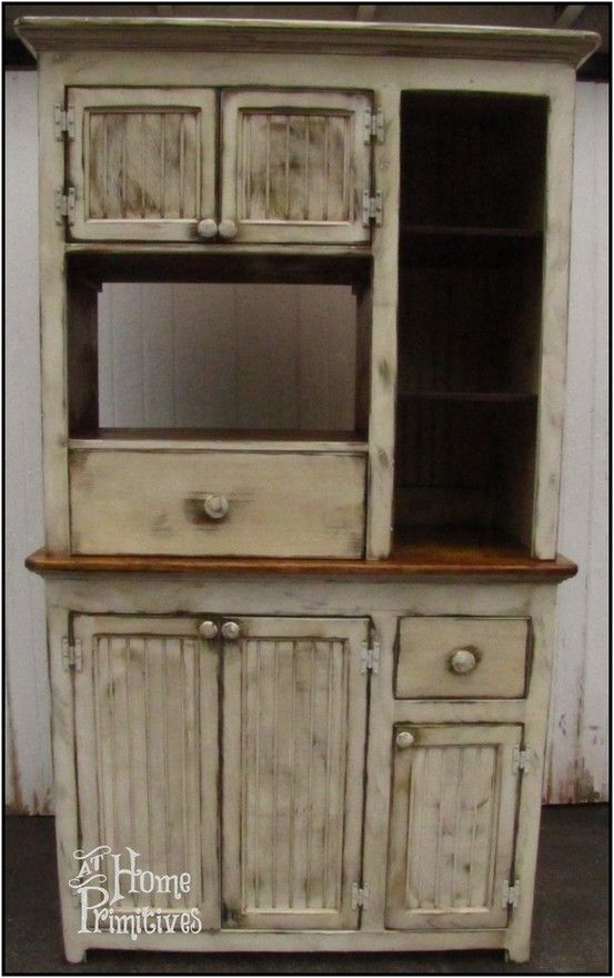 Primitive Microwave Hutch designed and built by At Home