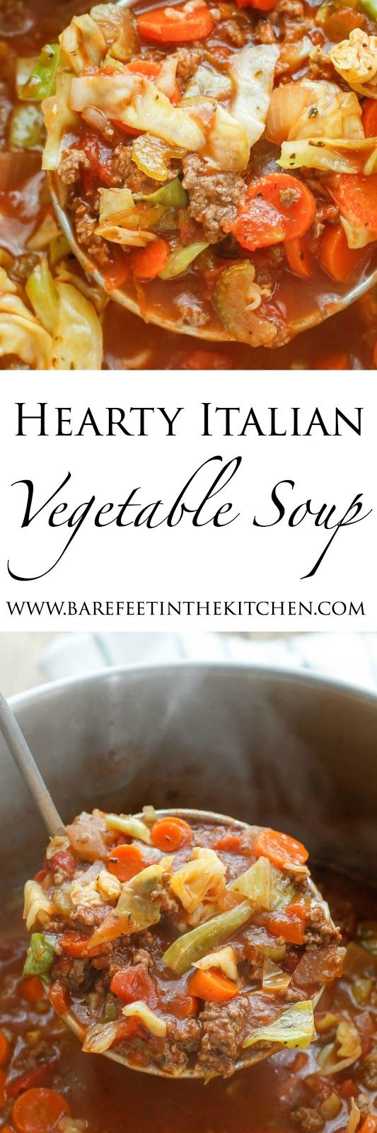 Hearty Italian Vegetable Beef Soup recipe filled with chunks of ground beef, plenty of vegetables, and generous Italian spices,