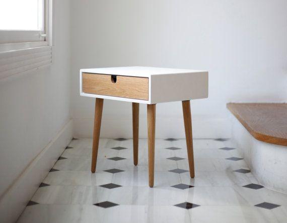 White Nightstand / Bedside Table, Scandinavian Mid-Century