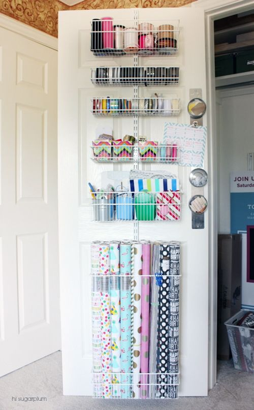 UHeart Organizing: Shut the Craft Door Wrapping Paper Organization over the door, in a closet